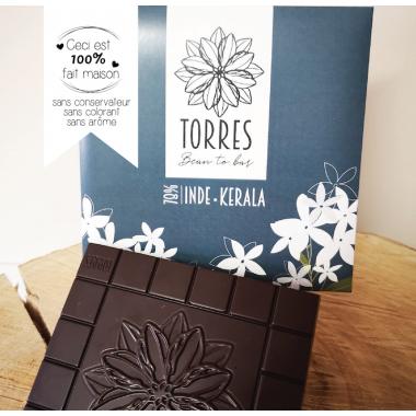 Tablette de chocolat bean to bar - 78% cacao Inde